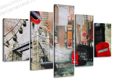 Schilderij London XXL 5-delig (160x80cm)