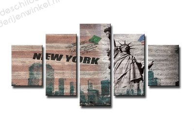 Schilderij New York Vrijheidsbeeld XXL 5-delig (160x80cm)