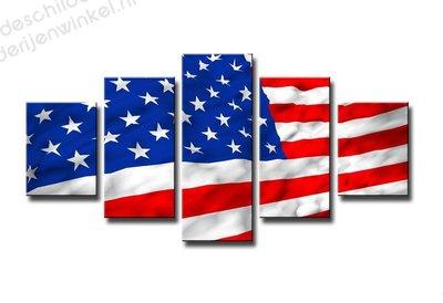 Schilderij USA Vlag XXL 5-delig (160x80cm)