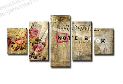 Schilderij The Notebook XXL 5-delig (160x80cm)