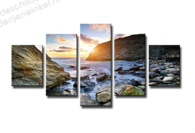 Schilderij Rocks in the sun XXL 5-delig (160x80cm)