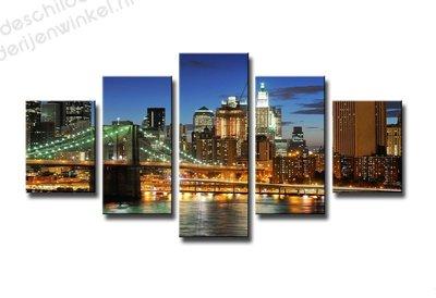 Schilderij New York by Night XXL 5-delig (160x80cm)