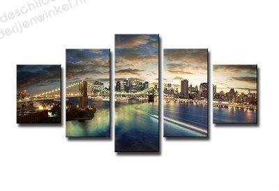 Schilderij City by dusk XXL 5-delig (160x80cm)