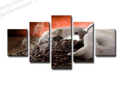 Schilderij Love Koffie XXL 5-delig (160x80cm)