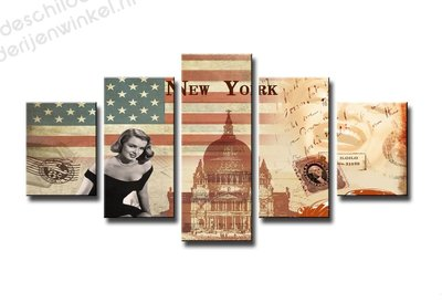 Schilderij New York Collage XXL 5-delig (160x80cm)