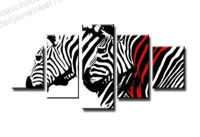 Schilderij Zebra met Rood XXL 5-delig (160x80cm)