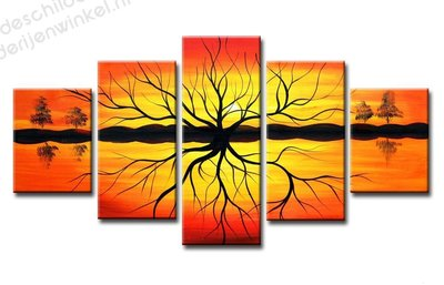 Schilderij Tree of the Sun XXL 5-delig (160x80cm)
