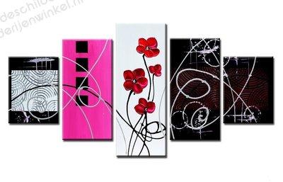 Schilderij Abstract Bloemen Pink XXL 5-delig (160x80cm)