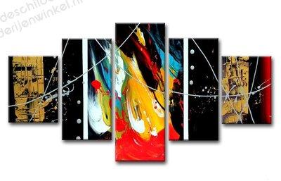 Schilderij Multicolor Verf Effect XXL 5-delig (160x80cm)