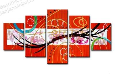 Schilderij Playful Abstract XXL 5-delig (160x80cm)