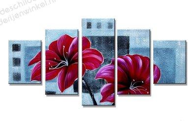 Schilderij Rode Bloemen XXL (160x80cm)