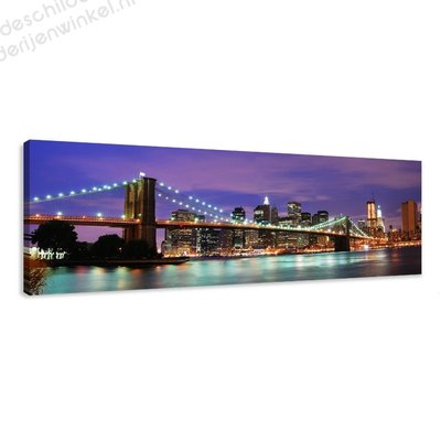 Schilderij Bridge by night (120x40cm)