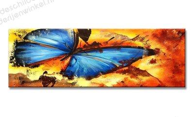 Schilderij Blauwe Vlinder (120x40cm)