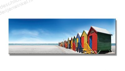Schilderij Strandhuisjes (120x40cm)
