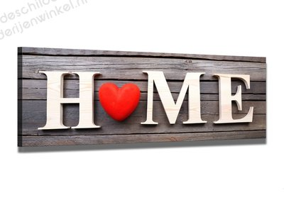 Schilderij Home is where the Heart is (120x40cm)