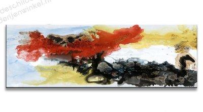 Schilderij Abstract Wit Zwart Rood (120x40cm)