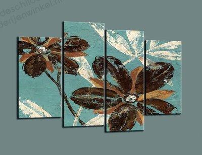 Schilderij Bloemen Celeste XL 4-delig (130x80cm)