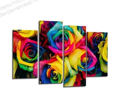 Schilderij Rozen Multicolor XL 4-delig (130x80cm)