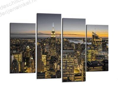 Schilderij Horizon van New York XL 4-delig (130x80cm)
