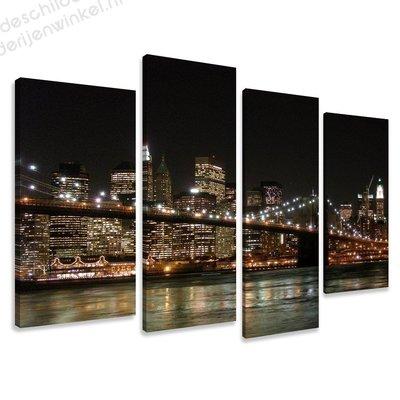 Schilderij Skyline van New York XL 4-delig (130x80cm)