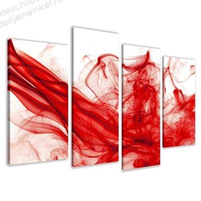 Schilderij Rode Mist XL 4-delig (130x80cm)