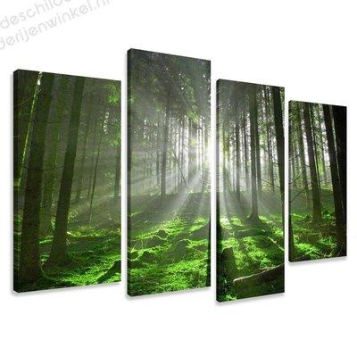 Schilderij Het Groene Bos XL 4-delig (130x80cm)
