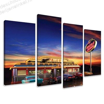 Schilderij Rock Diner XL 4-delig (130x80cm)