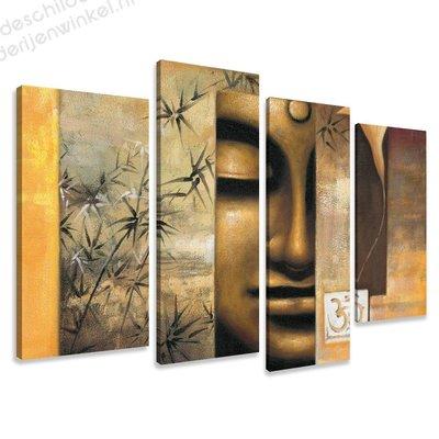 Schilderij Happy Boeddha XL 4-delig (130x80cm)
