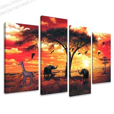 Schilderij Afrika Rood XL 4-delig (130x80cm)