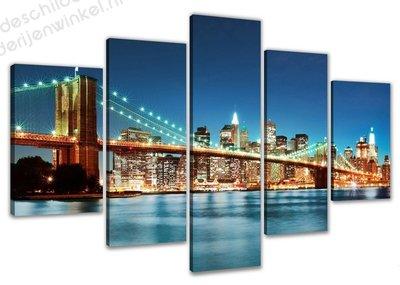 Schilderij New York Glow XXL 5-delig (200x100cm)