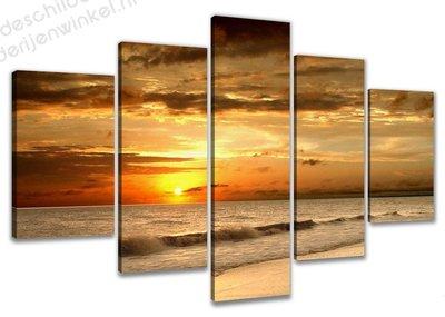 Schilderij Burning Sunset XXL 5-delig (200x100cm)