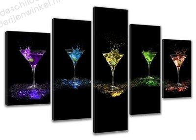Schilderij Cocktail Splash XXL 5-delig (200x100cm)
