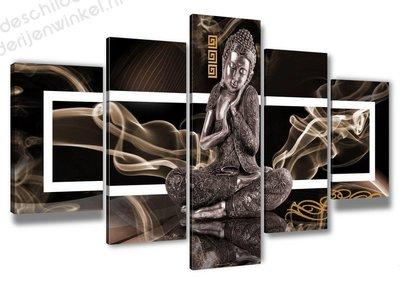 Schilderij Buddha XXL 5-delig (200x100cm)