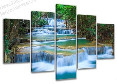 Schilderij Watervallen XXL 5-delig (200x100cm)