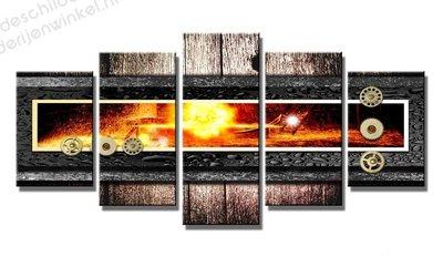 Schilderij Fire Machine XXL 5-delig (200x100cm)