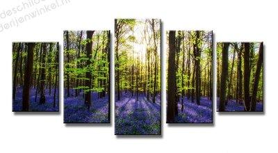 Schilderij Lavendel Bos XXL 5-delig (200x100cm)