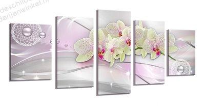 Schilderij Orchidee Pink XXL 5-delig (200x100cm)