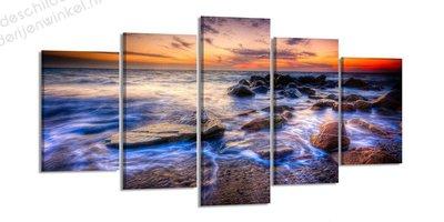 Schilderij Electric Ocean XXL 5-delig (200x100cm)