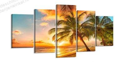 Schilderij Palmboom Zonsondergang XXL 5-delig (200x100cm)