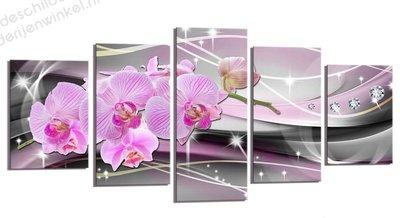 Schilderij French Orchidee XXL 5-delig (200x100cm)