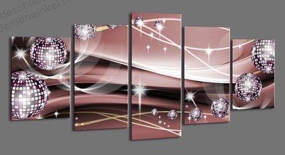 Schilderij Disco Ballen XXL 5-delig (200x100cm)