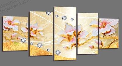 Schilderij Gouden Magnolia XXL 5-delig (200x100cm)