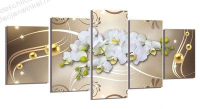 Schilderij Orchidee'n Goud XXL 5-delig (200x100cm)