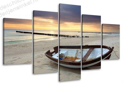 Schilderij Boot aan het Water 5-delig (100x50cm)
