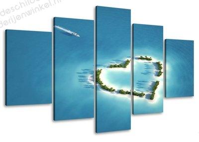 Schilderij Love Island 5-delig (100x50cm)