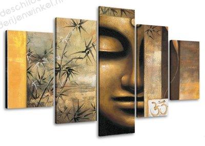 Schilderij Happy Boeddha 5-delig (100x50cm)