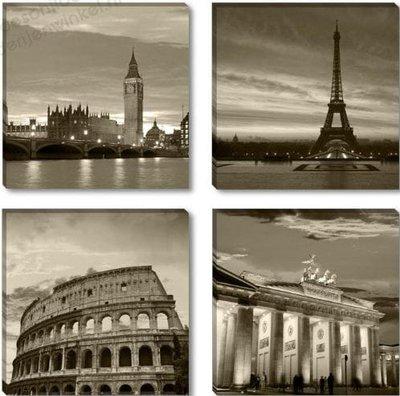 Schilderij London-Parijs-Rome-Berlijn 4-delig (4st 30x30cm)