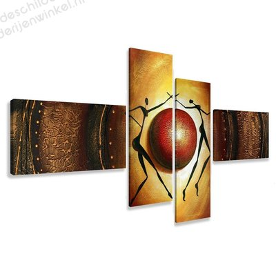 Schilderij Oase bruin XXL 4-delig (195x80cm)