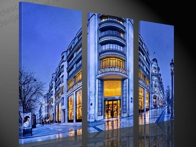 Schilderij Louis Vuitton Store Paris XL 3-delig (120x80cm)