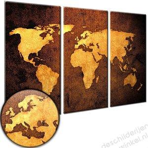 Schilderij Wereldkaart Bronze XXL [GRATIS VERZENDING]